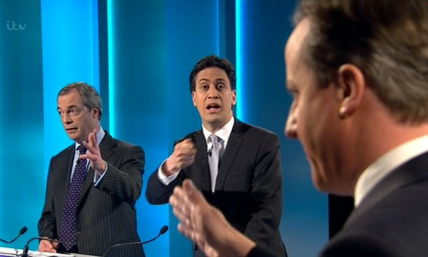 Nigel Farage, Ed Miliband and David Cameron speak during leaders debate. Source: http://bit.ly/1E5y3h9.