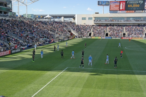 Philadelphia Union players defend a throw-in by New York City FC at PPL park on April 11, 2015. Photo Credit: Nick Mumenthaler.
