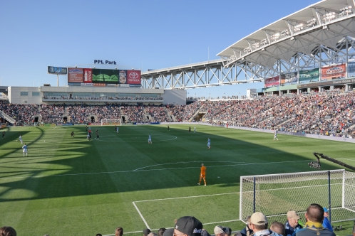 PPL Park: Home of Major League Soccer's Philadelphia Union and the Commodore Barry Bridge in Chester, Pennsylvania, just south of Philadelphia. Photo from stadium section 138. Photo Credit: Nick Mumenthaler