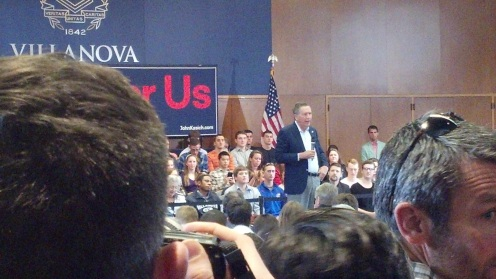 John Kasich at Villanova, 3/16/2016. Photo by Dan Gorman.